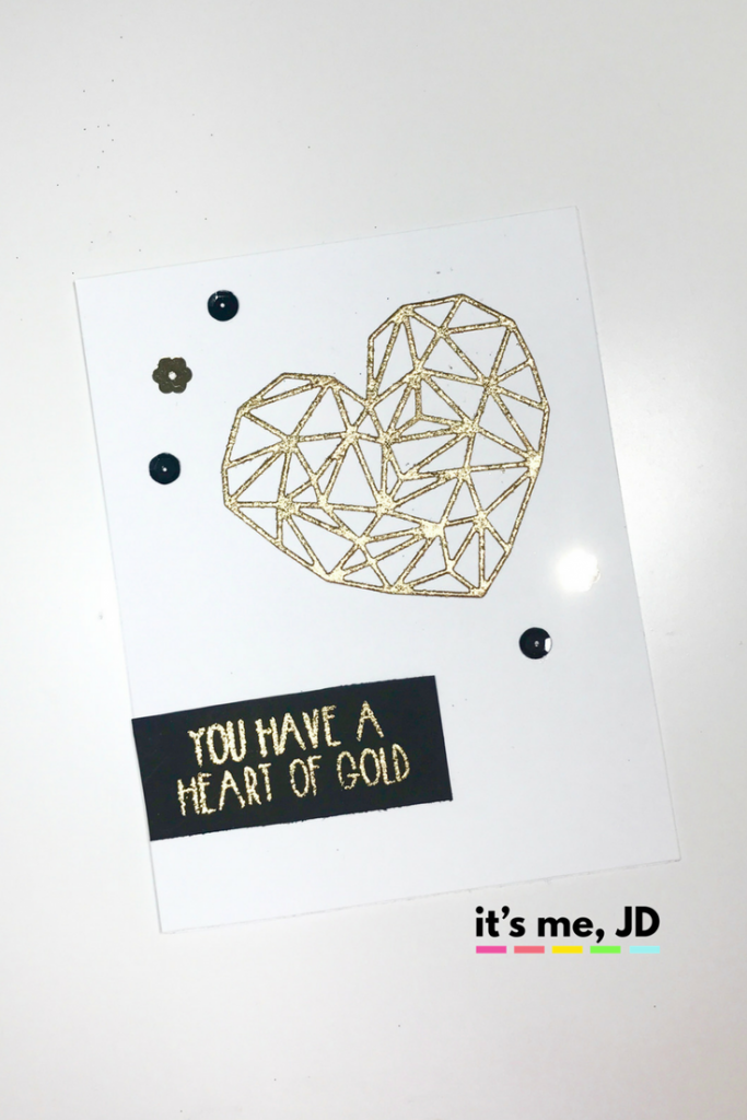 Heart of Gold Faux Metal Embellishment Card