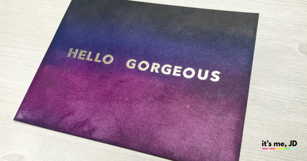 Dark Distress Ink Hello Georgeous Card
