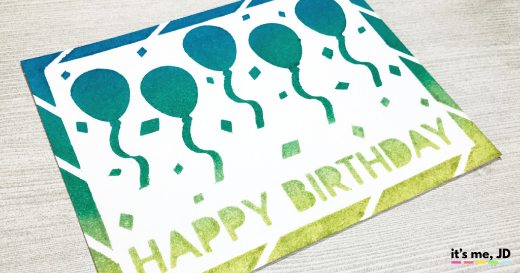 Ink Blending Custom Birthday Stencil Balloon Card