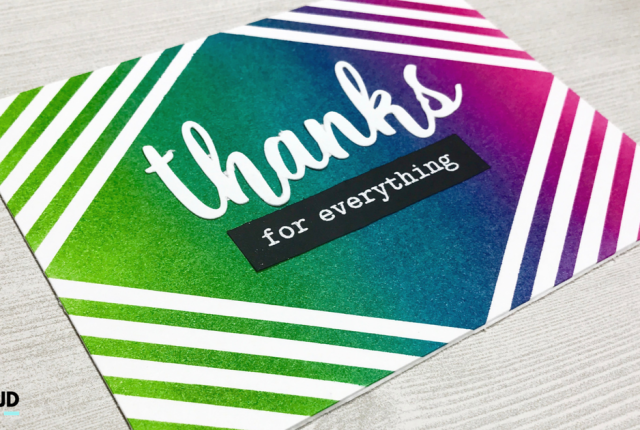 Ink Blending Masking Diamond Stripes Thank you Card Modern Colorful