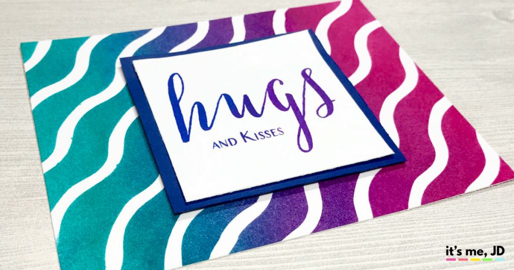 Ink Blending Waves hugs Raspberry Peacock Card Distress Ink Modern Hugs