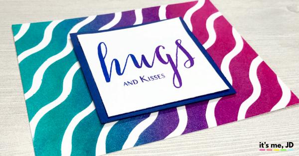 Ink Blending Waves hugs Raspberry Peacock Card Distress Ink Modern Hugs