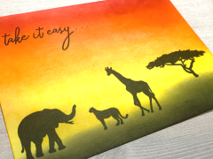 Take it Easy Africa Sunset Sunrise Animal Ink Blending Card