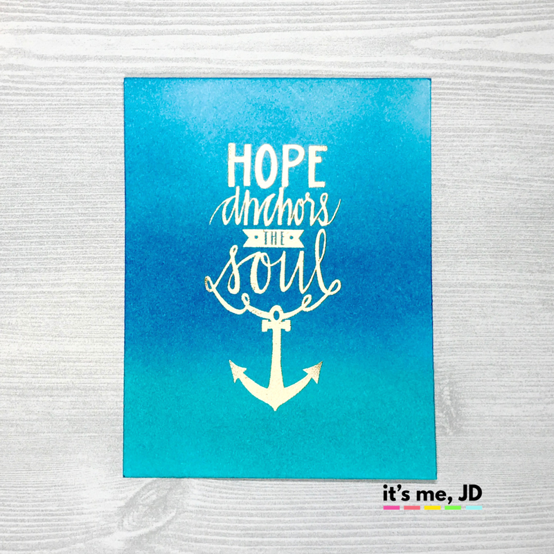 Ink Blending Neat Tangled Blue Anchor Hope Card