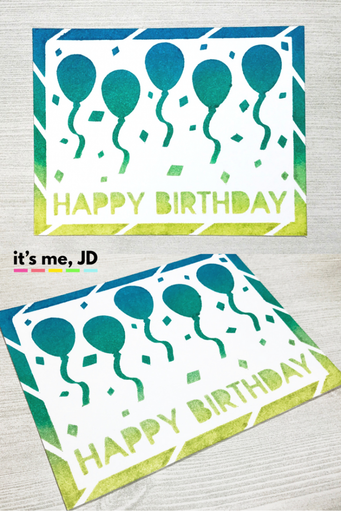 Ink Blending Custom Birthday Stencil Balloon Masculine Card
