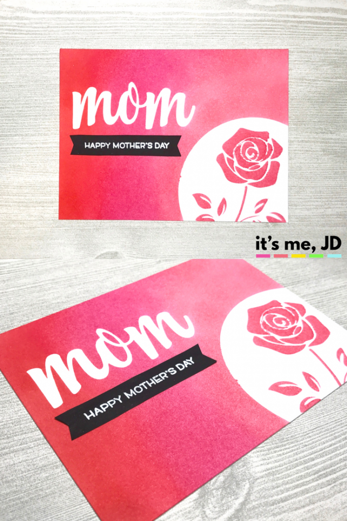 Ink Blending Mother's Day Pink Ombre Rose Distress Ink Card Feminine Girly