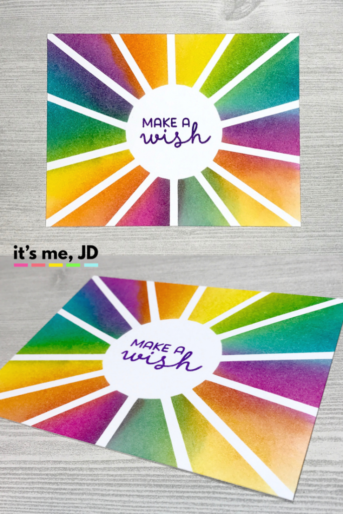 Ink Blending Rainbow make a wish Colorful Card