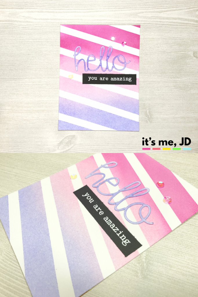 ink blending, distress ink, masking, pink, purple, hello, girly, feminine card