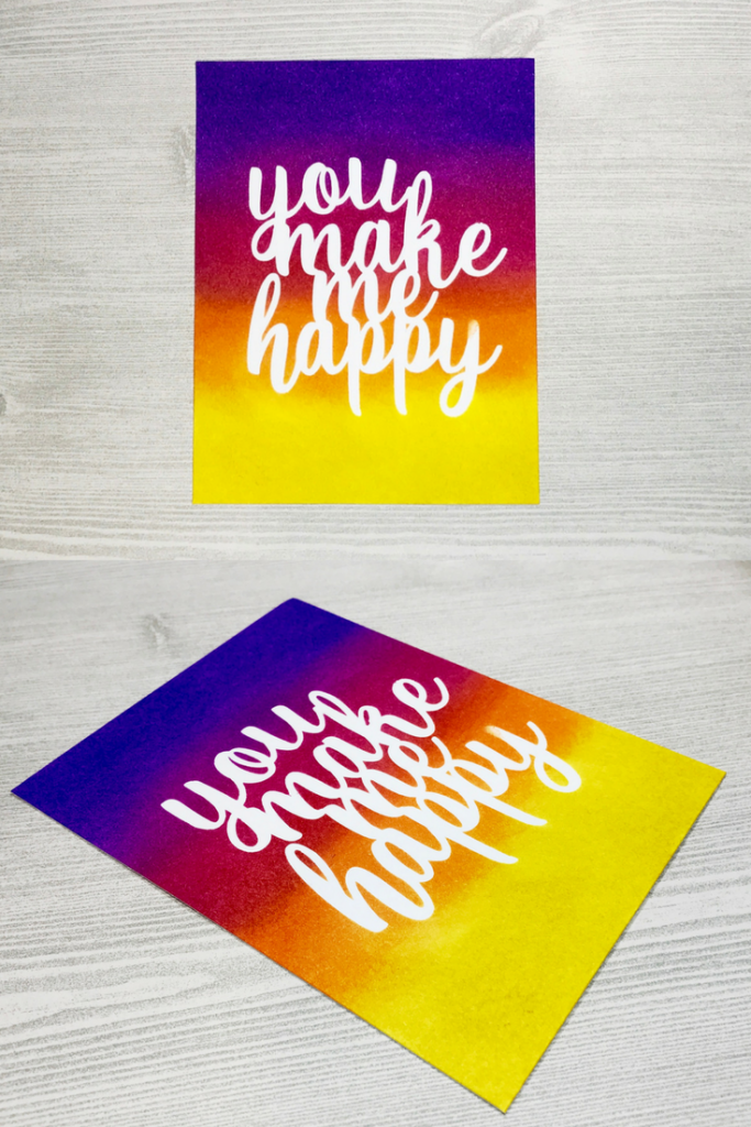 Ink Blending You Make Me Happy Bright Colorful Card distress ink