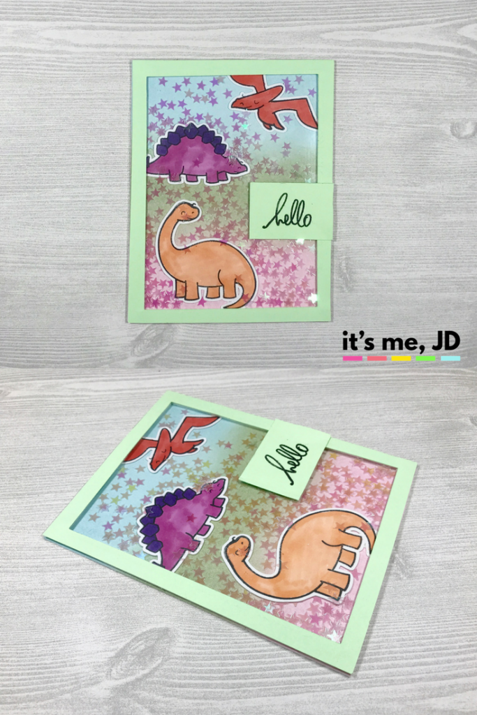 Lawn Fawn Dinosaur Shaker Card Boy Kid Card Animals