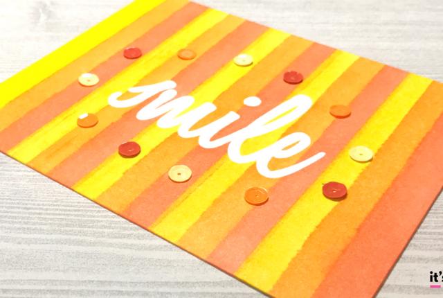 Distress Ink Blending Smile Stripes Card Persimmon Pumpkin Mustard Happy