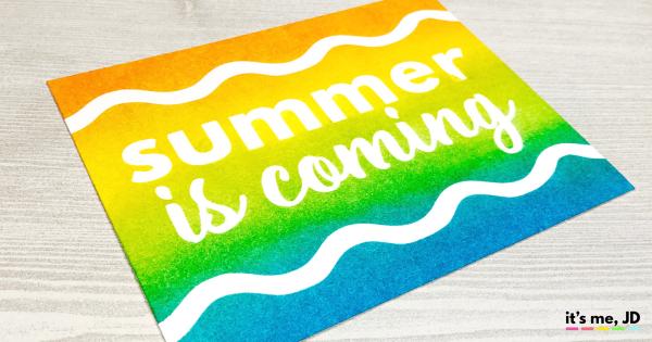 Ink Blending Summer is Coming Card distress ink, pumpkin, citron, Waves, beach