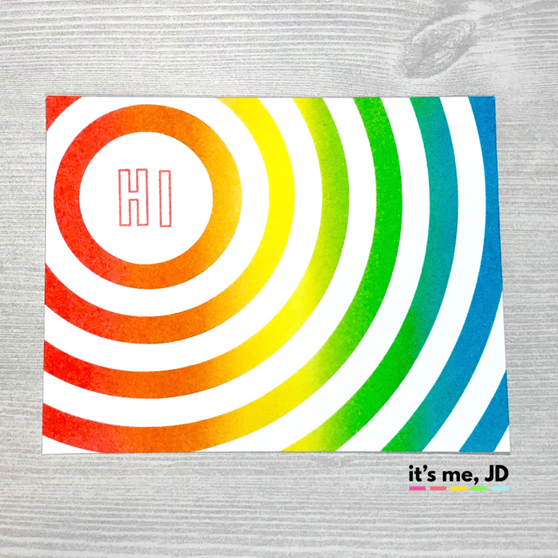 Ink Blending Circle Rainbow Card Distress Ink Hello DIY Handmade