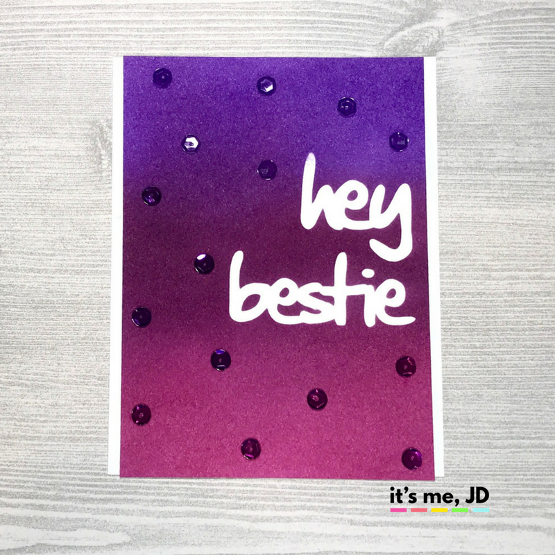 Distress Ink Purple Best Friend Handmade Card DIY Concord, Violet, Seedless