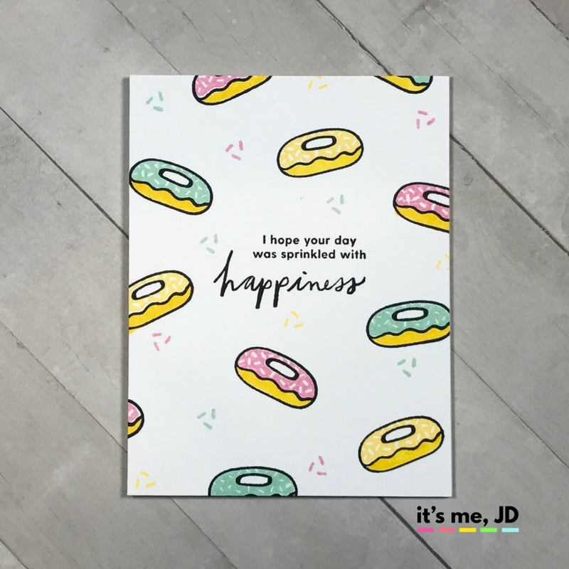 belated birthday donut sprinkles clean and simple one layer card