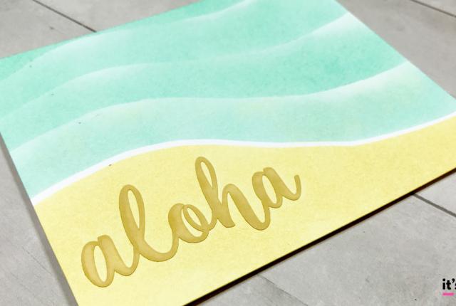 Ink blending aloha straw pistachio beach island card