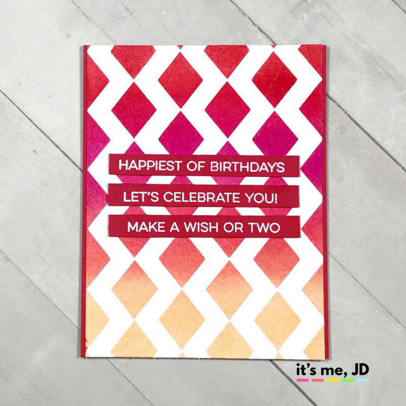 Ink blending festive picked coral diamond dried birthday card distress MFT