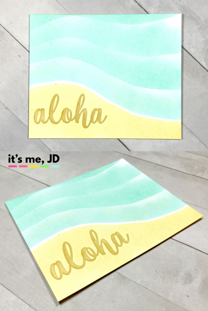 Ink blending aloha straw pistachio beach island card