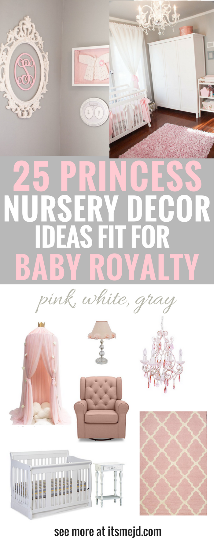 Princess Nursery Decor Ideas Fit for Baby Royalty, Pink, White, Gray, Girl, Elegant, Crown