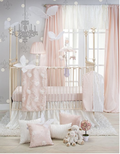 Princess Themed Nursery Bedding Blush Pink White Damask And Gold Polka Dot Amelia Baby S 9 Piece Crib Set With Per