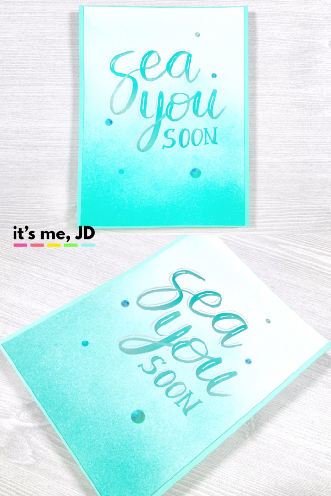 Sea You Soon Hand Lettering Card With Teal Ocean Ink Blending