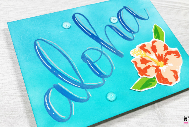 Fb hand lettered aloha hibiscus card