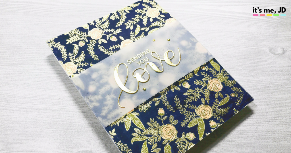 wildflowers embossed gold love Valentine's Day card handmade, DIY