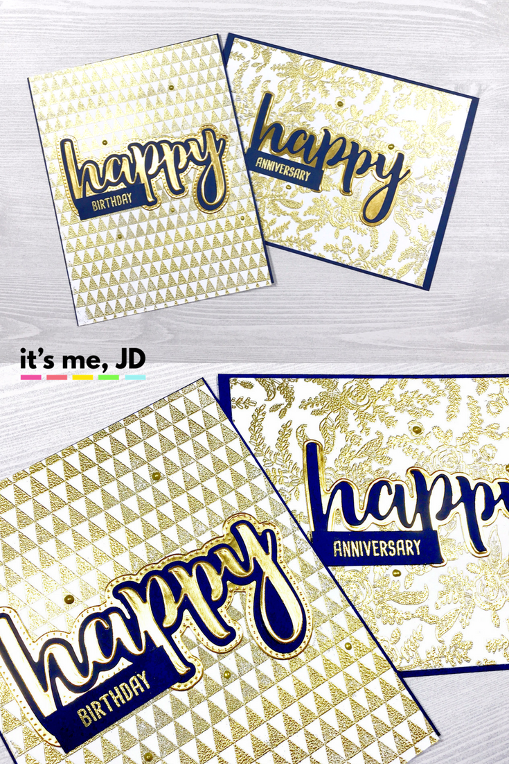 Navy Blue and Gold Honey Bee Stamps Happy Cards