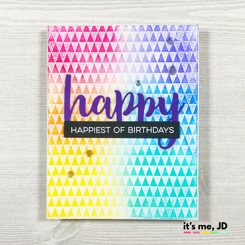 ink blended rainbow triangle happy birthday Gina k inks card