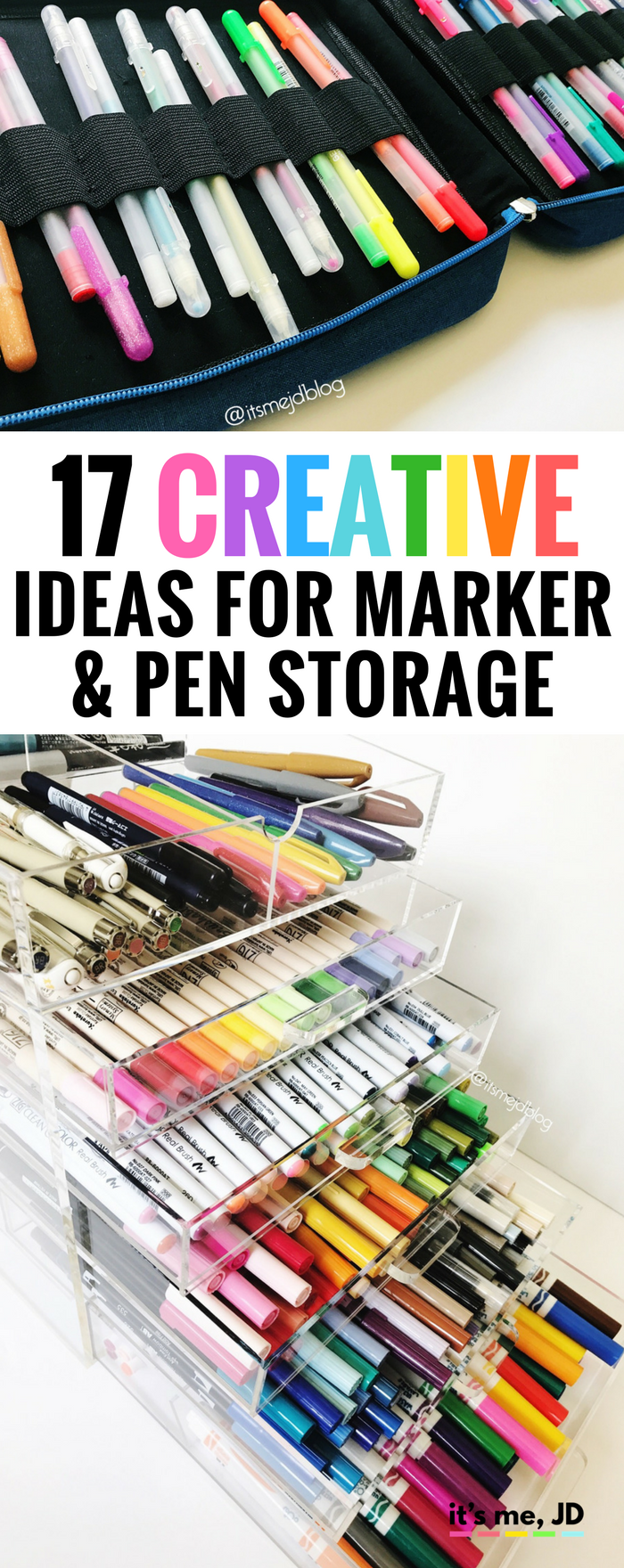 #handlettering Creative Ideas for Marker and Pen Storage, DIY, Portable, Travel Desk Options #storage