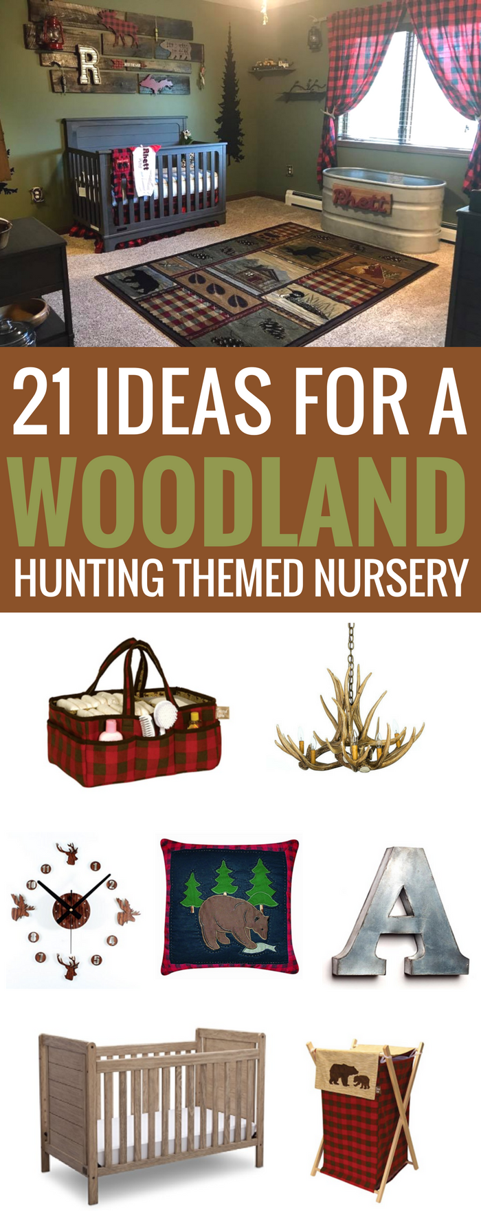 #woodland #forest #nursery Woodland Hunting Themed Nursery, lumberjack, buffalo check plaid