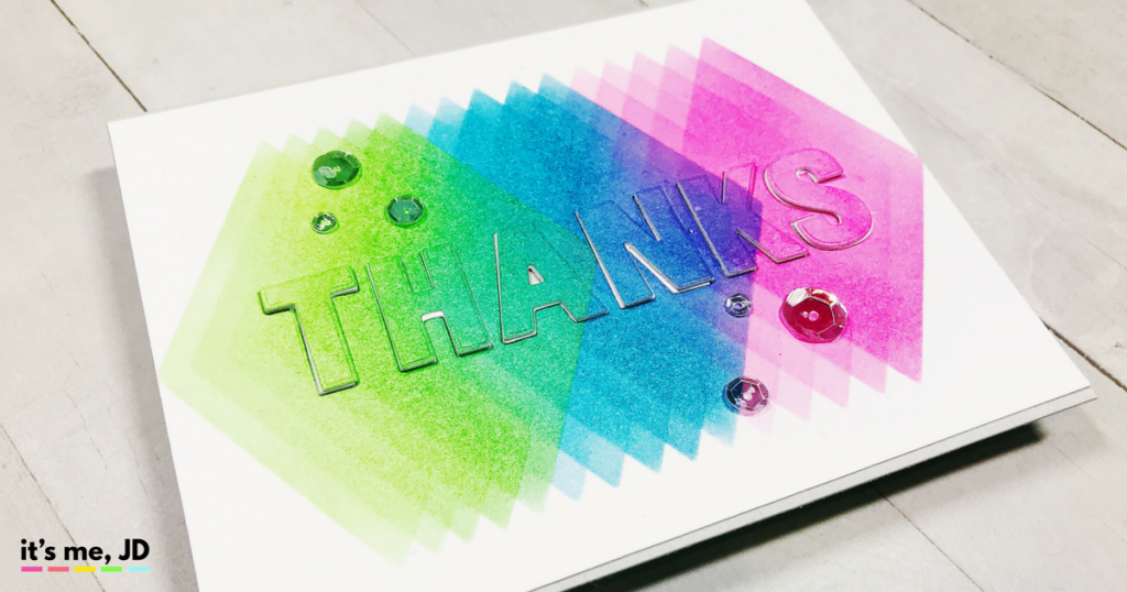 #Cardmaking, #crafts, Modern Thanks Card With Distress Ink Blended Diamonds, Card Making,
