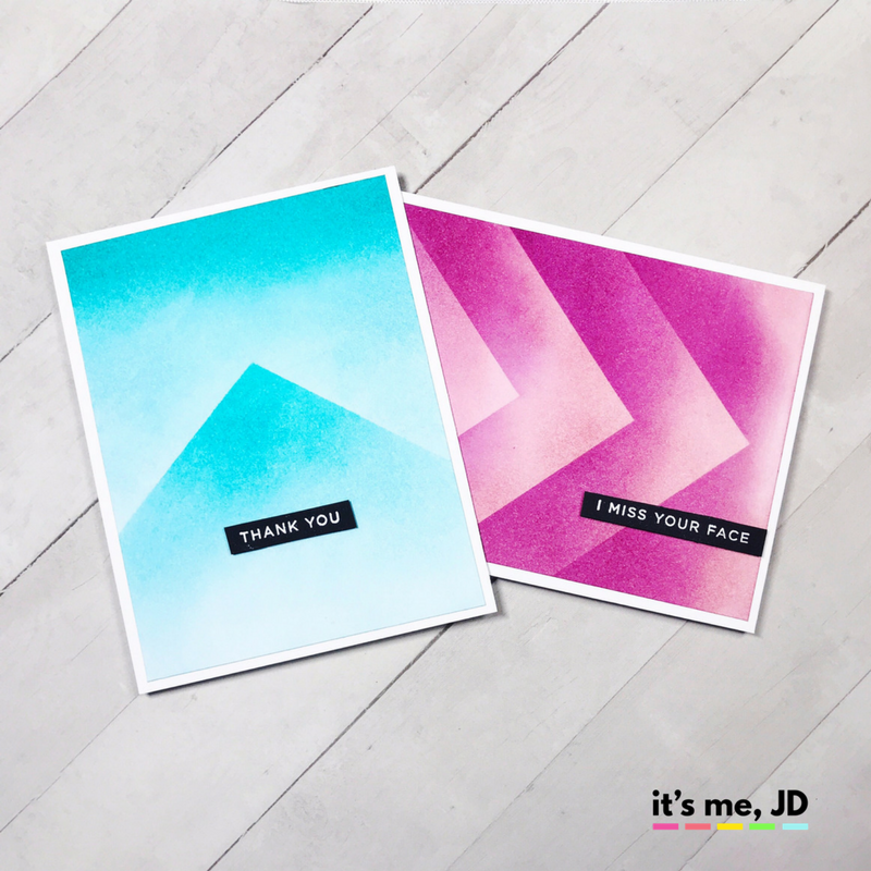 Scaled Ombre Distress Ink Blending Modern Minimalist Card
