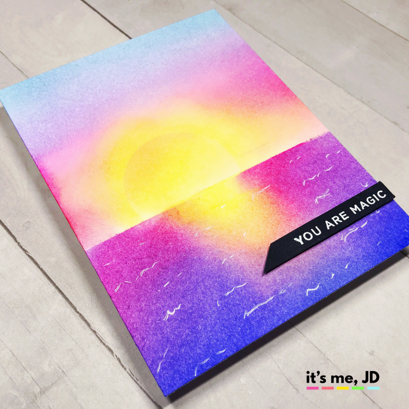 how to ink blend a sunset ocean distress inks background
