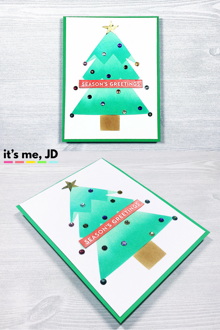#cardmaking #christmascard Quick and Easy DIY Christmas Tree Card, Holiday Idea