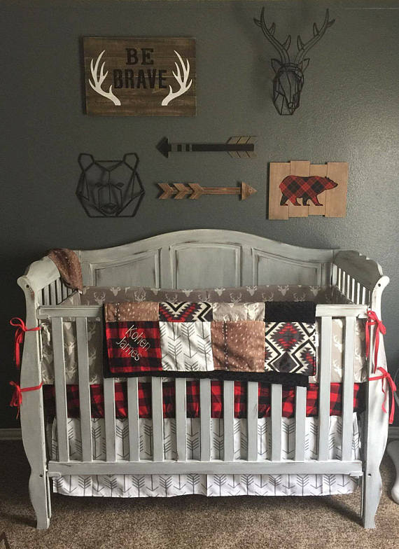 This Woodland Hunting Crib Bedding With Buffalo Check Deer Skin And Arrows Would Fit Perfectly Designsbychristys