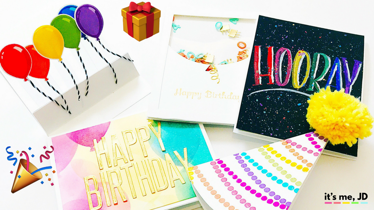 5 DIY Birthday Cards, Handmade easy, and simple Birthday Card Ideas