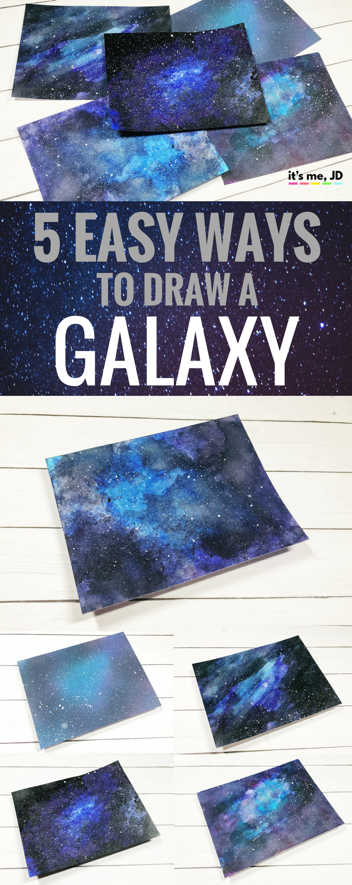#watercolor #galaxy EASY WAYS TO DRAW A GALAXY _ Paint Galaxies Using Watercolor, Acrylics, Ink Blending and Even Markers! _ For Beginners