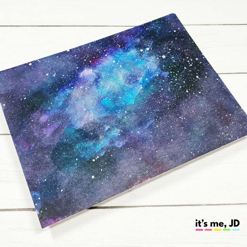 EASY WAYS TO DRAW A GALAXY, distress ink watercolor