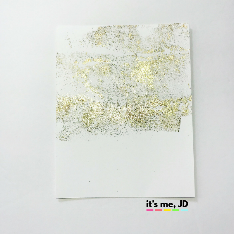 Foil with sticky embossing powder