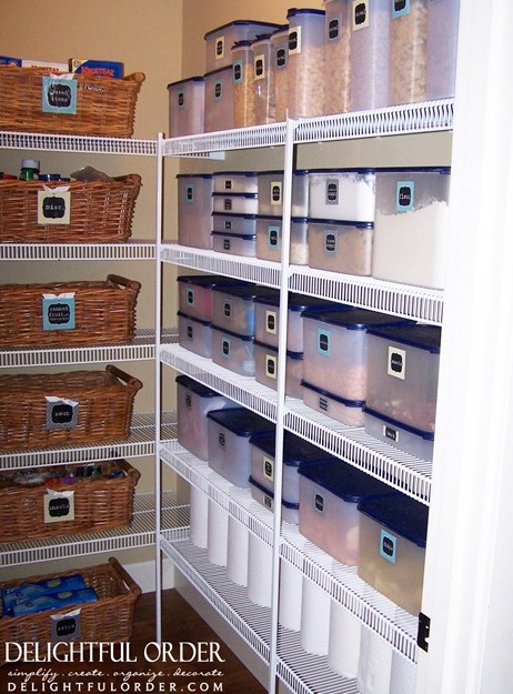 By mixing baskets and plastic bins, you get a perfect mix of organizing bliss!