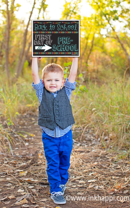 We all like to have that first day of school photo as a memory for our children each year and these photo prop signs make is so easy (and darling!)
