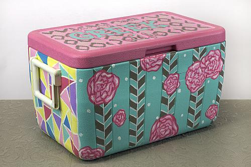 You'll be the BWOC when you bring this colorfully decorated cooler to a campus gathering.