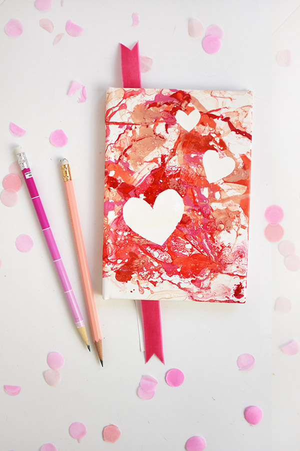 Check out today how you can create your own Marbled Heart Notebook!