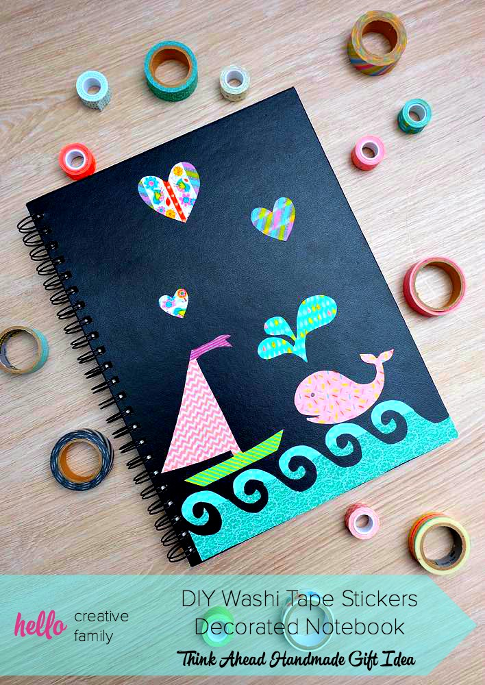 There all kinds of ways to decorate and personalize a sketch pad, but decorating with washi tape stickers can make notebook decorating a family activity!