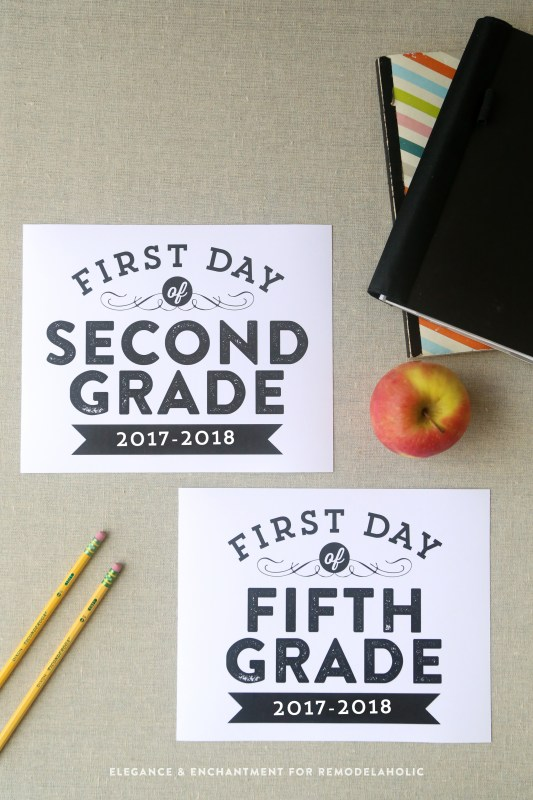 For those of you who have kids heading back to school, and plan on getting snap happy with your camera, these signs will make the perfect addition to those first-day photos.