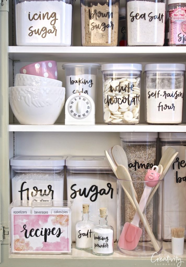 These beautiful hand lettered labels will make a pantry even more organized!