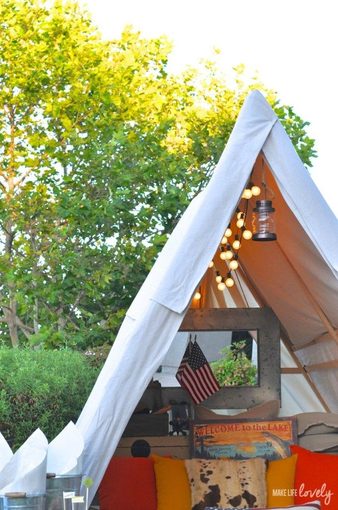 Why not make a backyard tent that everyone can use - for reading, chillin', or actually doing some backyard camping?