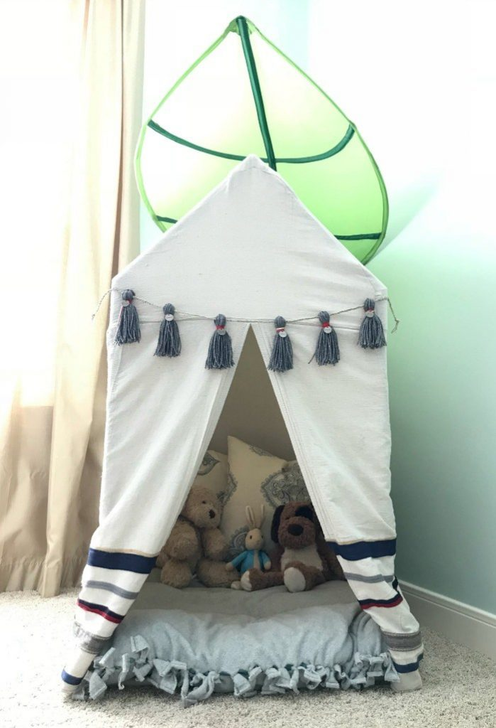This tent is big enough to hold 2 kids with lots of toys or books. But it's small enough to push through standard door frames. So, no need to take it apart when you need to move it.
