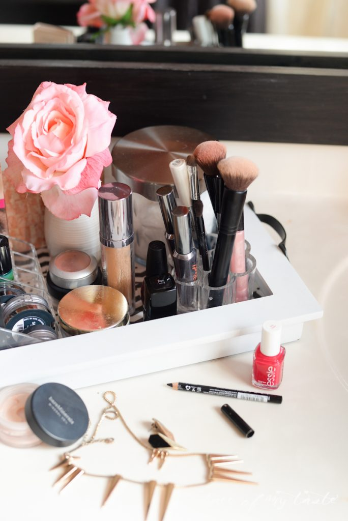 Organize your messy makeup bags into an organized makeup station. Every minute you can save yourself in the morning counts!
